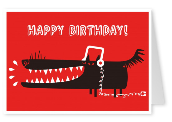 Illustration Of A Black Dog With Headphones On Red Background Mypostcard