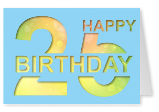 happy birthday 25 postcard layout