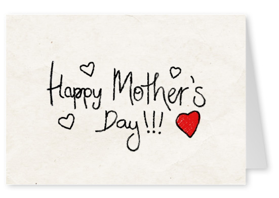 Happy Mother's Day handwritten with red heart on lilac background–mypostcard