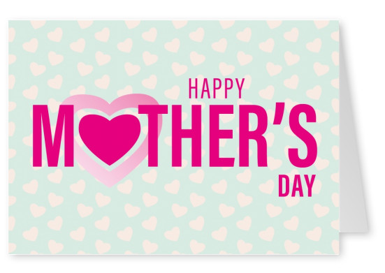 Mother's Day graphic with heart pattern–mypostcard