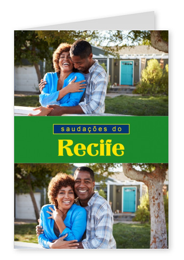 Recife greetings in Portuguese language with Brazilian flag design