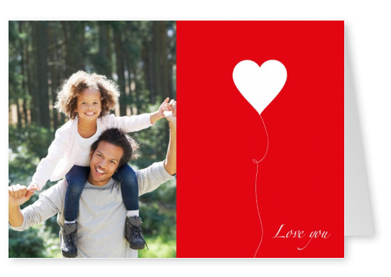 white heart on red background postcard design