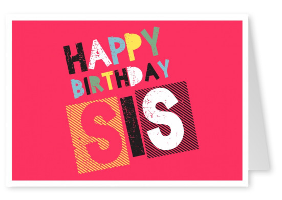 red postcard happy birthday sis