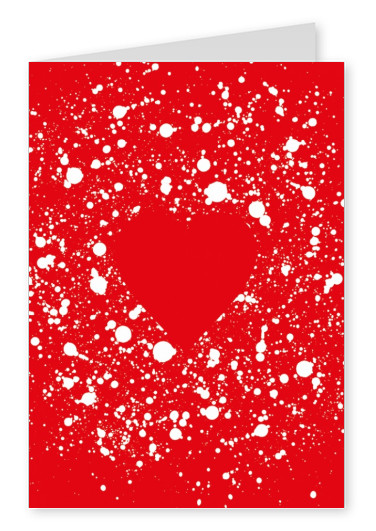 red postcard with white heart