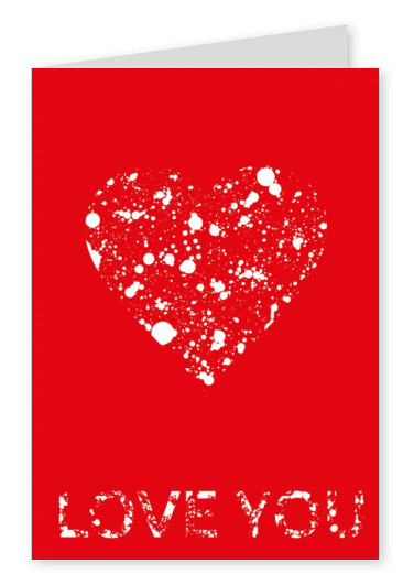 red postcard love heart love you
