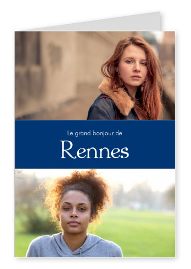 Rennes greetings in French language blue white