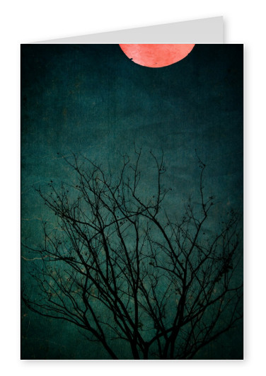 Kubistika red moon and tree
