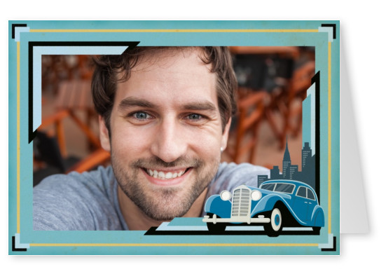 art deco frame with oldtimer car by Robin Howlett