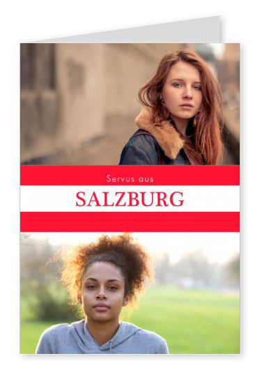 Salzburg hello in Austrian language red white
