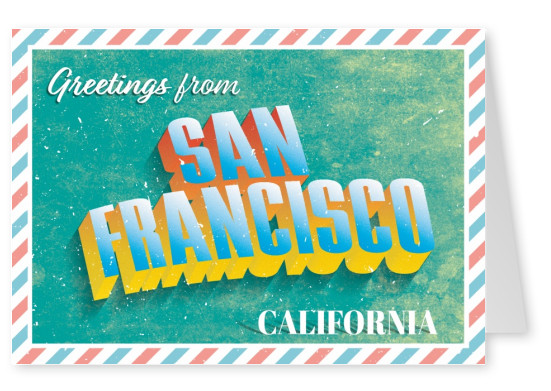 Retro postcard San Francisco, California