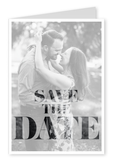 Save the date in classic, plain lettering–mypostcard