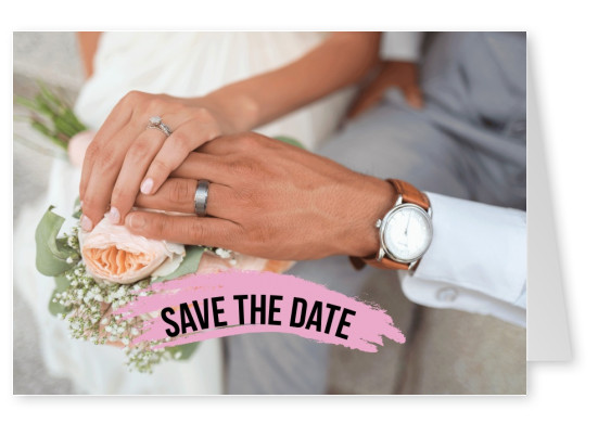 Save the date pink brushstroke and personalized photo