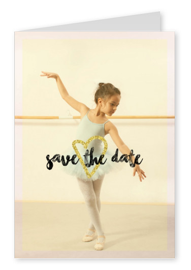 Save the date calligraphy with gold heart on yellow filter photo card template