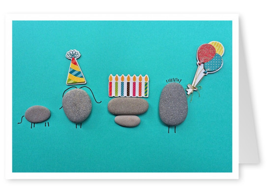 photo little stones birthday decoration