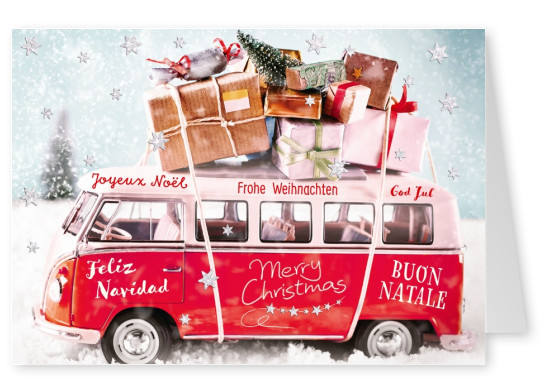 photo Christmas van with gifts