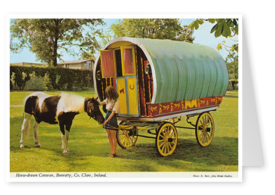 The John Hinde Archive photo Horse drawn caravan, Bunratty, Ireland