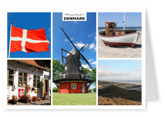five photos of denmark – mill, beach, city, flag