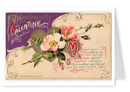 Mary L. Martin Ltd. vintage greeting card Valentine's greetings