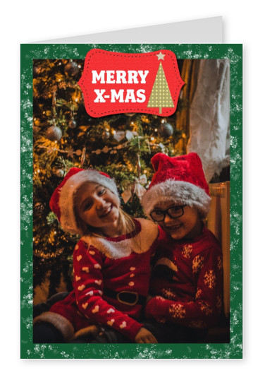 Christmas frame green red label