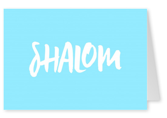 Shalom in white with blue background