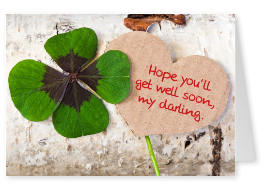 shamrock get well soon postcard motive