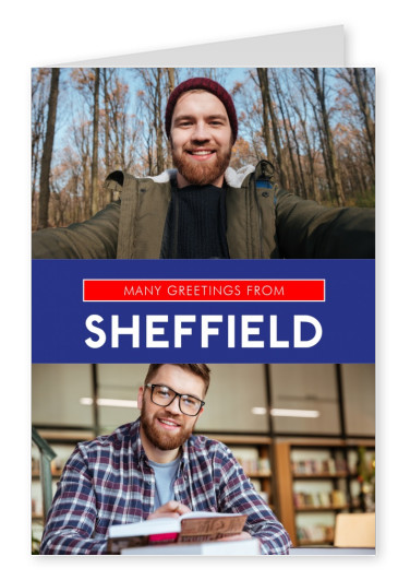 Sheffield greetings in Union Jack colours