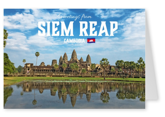 Postcard with photo of Angkor Wat Tempel in Cambodia
