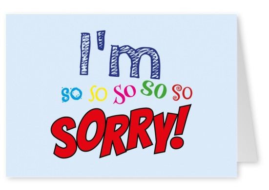 i am very sorry postcard typography