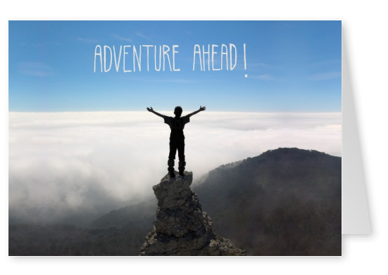 greetingcard with a photo of an adventurer on a rock