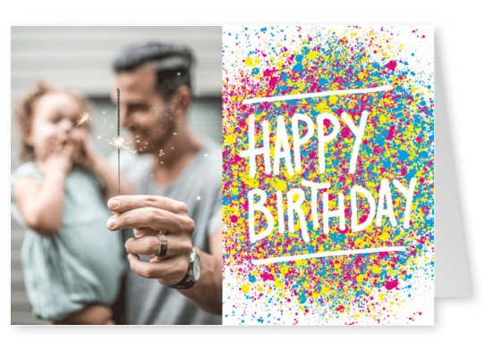 Happy Birthday greeting card with colourful splashes