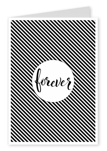 Forver-Black calligraphy on black and white striped background–mypostcard