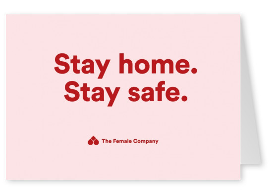 THE FEMALE COMPANY postcard stay home stay safe