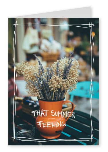 greeting card with a photo of dry flowers and beautiful colors