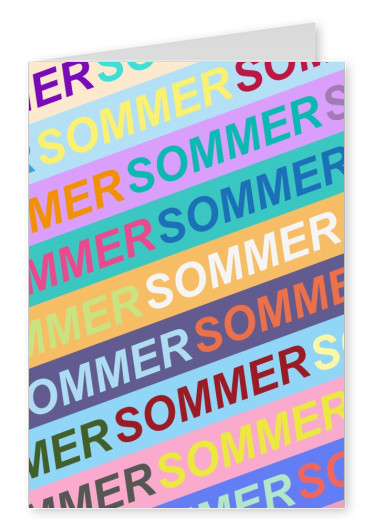 greetingcard with the word summer in different colors