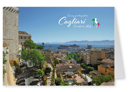 Photo of Cagliari in Sardinia from bird's eye view–mypostcard