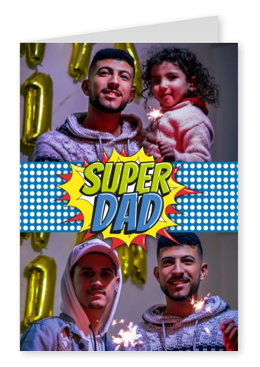 Super Dad superhero pop art style in blue, red and yellow