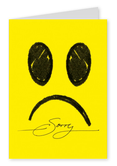 Cute yellow smiley saying sorry postcard
