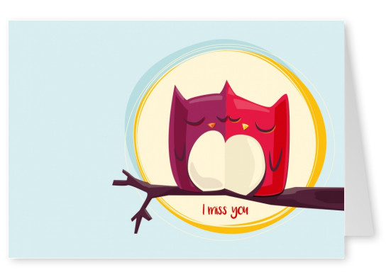 illustration sweet owls i miss you postcard