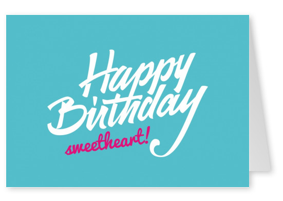 Customized free printabele birthday cards send online printed birthday greetings card with white handwriting on turquoise background for your sweetheart m4hsunfo