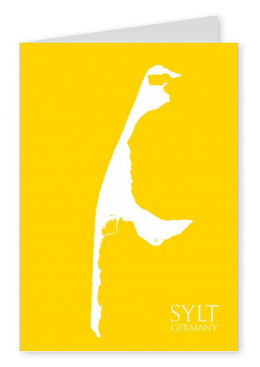 Sylt Silhouette on yellow background–mypostcard