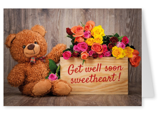 teddybear with flowers postcard