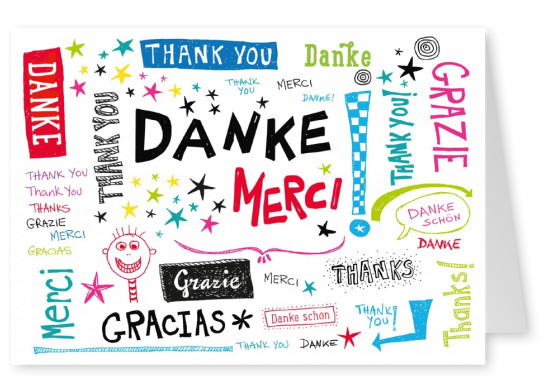 Thanks from allover the world thank you postcard international danke merci grazie different languages handdrawn sketch m4hsunfo