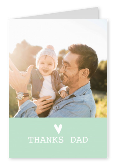 personalized greetingcard saying thanks dad, green background
