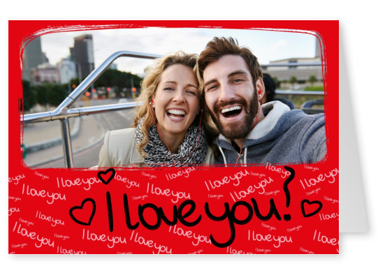 I love you handwriting with 8 pink hearts on red frame