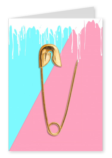 Kubistika golden safety pin