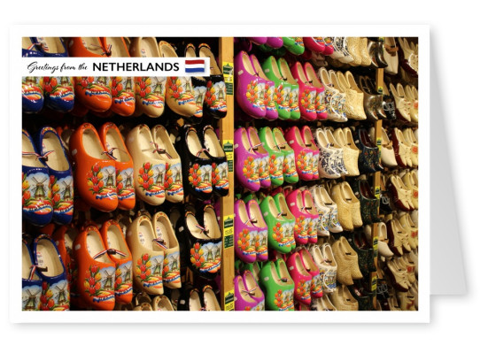 Photo of traditional Ducht wood shoes in the Netherlands–mypostcard
