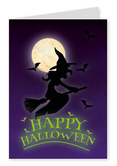 Happy Halloween with witch and bats