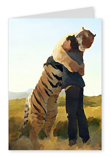 Kubistika tiger hugging a man