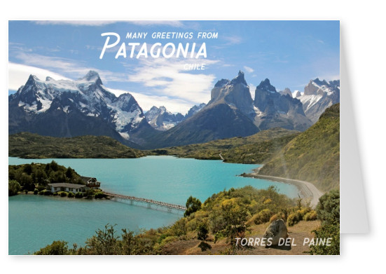 Postcard Patagonia with photo of torres del paine