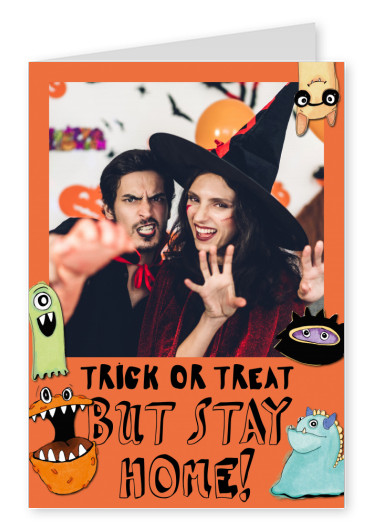 postcard Trick or treat but stay home